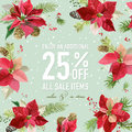 Christmas Sale Poster Or Banner - With Winter Poinsettia Flowers Royalty Free Stock Photos - 78886658