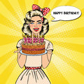 Pop Art Beautiful Woman Holding A Plate With Happy Birthday Cake With Candles Stock Photos - 78886703