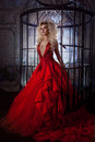 Fashion Blonde In Red Dress With Fluffy Skirt Near The Birdcage, Concept Of Liberation Royalty Free Stock Photos - 78916218