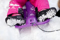 Close Up Of Kids Feet In Winter Boots On Sled Royalty Free Stock Photo - 78933355