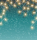 Christmas Background, Winter Landscape With Electric Decorative Lights, Illustration Royalty Free Stock Photos - 78939588