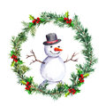 Snowman In Christmas Wreath With Fir Tree Branches. Watercolor Royalty Free Stock Image - 78946796