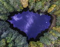 Aerial Top View Of Wild Forest Lake Royalty Free Stock Image - 78966886