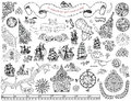 Set With Hand Drawn Elements For Treasure Hunt And Pirate Map On White Stock Photos - 78980143