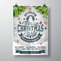 Vector Merry Christmas Party Design With Holiday Typography Elements And Shiny Stars On Vintage Wood Background. Stock Image - 78987861