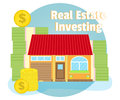 Investments In Real Estate. House On Background Of Banknotes And Coins. Business Concept. Cartoon, Flat Style, Vector Stock Photos - 78999063