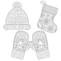 Winter Knitted Sock For Gift From Santa, Cap, Glove, Mittens  Stock Image - 79000151
