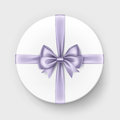 White Gift Box With Lilac Bow And Ribbon On Background Stock Photo - 79032820