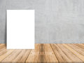 Blank White Paper Poster On Plank Wooden Floor And Concrete Wall, Template Mock Up For Adding Your Content Royalty Free Stock Photos - 79040758