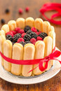 Charlotte Cake With Mixed Berries Stock Photo - 79055700