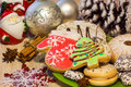 Christmas Card With Cookies In The Form Of A Christmas Tree And Winter Mittens, Cakes, Anise, Cinnamon, Christmas Toys Royalty Free Stock Image - 79055926
