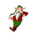 Cartoon Christmas Elf Or A Dwarf Leaning Stock Photo - 79064630