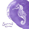 White Hand Drawn Seahorse Over Vivid Violet Watercolor Texture. Marine Life Sketch Zentangle Design For Summer Vacation Royalty Free Stock Photo - 79064925