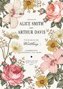 Wedding Invitation. Beautiful Flowers Chamomile Rose Hibiscus Mallow. Vintage Greeting Card. Frame. Drawing Engraving.  Stock Photos - 79065683