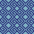 Seamless Knitting Geometrical Pattern In Blue Hues Royalty Free Stock Photo - 79067325