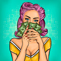 Vector Pop Art Girl With Cash Royalty Free Stock Photography - 79067867