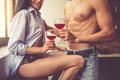 Sexy Young Couple In Kitchen Stock Photos - 79073573