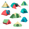 Set Of Tourist Tents. Collection Of Camping Tent Icons.  Vector Illustration Stock Photography - 79075342