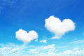 Two Heart Shaped Clouds On Blue Sky Royalty Free Stock Photo - 79078845