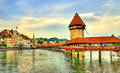 Chapel Bridge And Water Tower In Luzern, Switzerland Stock Image - 79096311