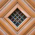 Vintage Door Spyhole With Stained Glass Window And Grid Stock Photos - 79096953
