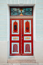 Red Vintage Door On A Old Building Facade In Old Tallinn City Royalty Free Stock Photo - 79097125
