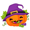 Halloween Pumpkin Wearing A Witch Hat Royalty Free Stock Photography - 79100677