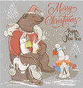 Christmas Card With Bear And Hares Royalty Free Stock Image - 79105246