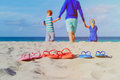 Father With Son And Daughter Walking At Beach Royalty Free Stock Photos - 79106488