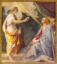 ROME, ITALY - MARCH 12, 2016: The Annunciation Fresco In The Side Chapel Of Church Basilica Di Santi Quattro Coronati By Giovanni Stock Images - 79121274
