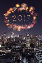 2017 Happy New Year Fireworks Over Tokyo Cityscape At Night, Jap Stock Photography - 79138552
