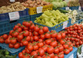 Vegetables Lie In Boxes On A Market Counter Stock Image - 79143681