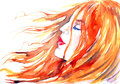 Red-haired Beautiful Girl Dreams In The Wind Royalty Free Stock Image - 79159566