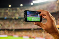 Supporter Football Team Recording Goal With Mobile Phone Camera. Royalty Free Stock Photography - 79163377