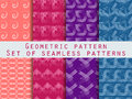 Set Of Geometric Seamless Patterns. Blue, Purple, And Peach Color. Stock Photography - 79172032