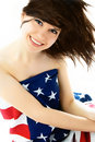 Pretty Woman Wearing An American Flag Royalty Free Stock Photography - 7923767
