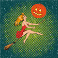 Halloween Concept Vector Poster In Retro Comic Pop Art Style. Witch Girl Flying On A Broomstick, Pumpkin Moon Royalty Free Stock Images - 79200059