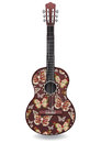 Guitar Decorated Abstract Butterfly With Ornaments Of Roses Flowers. Decorative Design.  Stock Image - 79215721