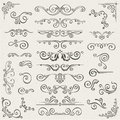Vector Set Of Swirl Elements For Design. Calligraphic Page Decoration, Labels, Banners, Antique And Baroque Frames Stock Image - 79217281