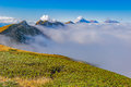 Clouds Cover Mountain Tops At Autumn Evening Time. Royalty Free Stock Images - 79220299
