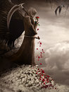 Dark Angel And Red Rose Royalty Free Stock Photo - 79230055