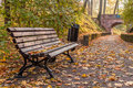 Autumn Bench And Path To The Bridge Stock Photography - 79243552