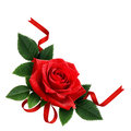 Red Rose Flower And Silk Ribbon Arrangement Stock Photography - 79253102