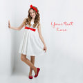 Teen Girl With Red Bow On Head Royalty Free Stock Photos - 79254378