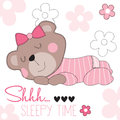 Cute Sleepy Time Bear Teddy Vector Illustration Stock Image - 79257811