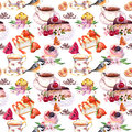 Tea Pattern - Flowers, Teacup, Cakes, Bird. Food Watercolor. Seamless Background Royalty Free Stock Photo - 79259205
