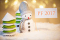 Snowman With PF 2017 Sign Royalty Free Stock Photo - 79263445