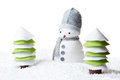 Snowman In A Forest Isolated On White Background Stock Images - 79264514