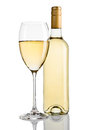 Bottle And Glass Of White Wine With Reflection Stock Photos - 79264623