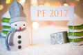 Snowman With PF 2017 Sign Stock Image - 79267791
